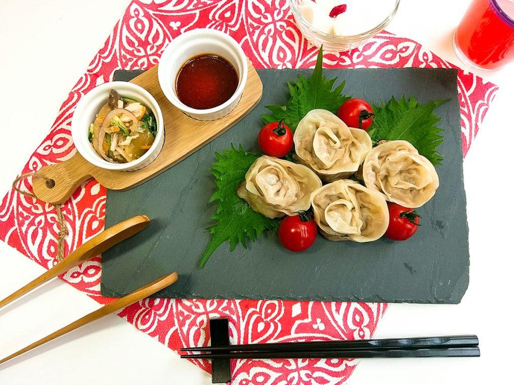 レシピ:大葉とぷりぷりエビの薔薇餃子