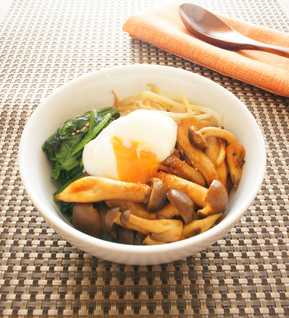 腸内きれいレシピ:キノコのビビンバ丼